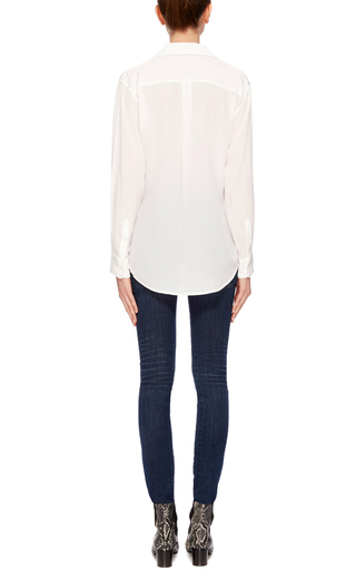 White Silk Cross Tie Knox Blouse by EQUIPMENT Now Available on Moda Operandi