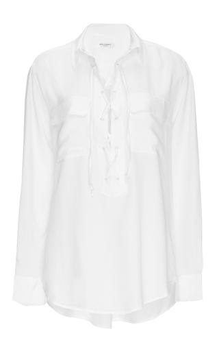 Medium equipment white white silk cross tie knox blouse