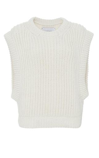 Medium i love mr mittens white sleeveless knit top  2
