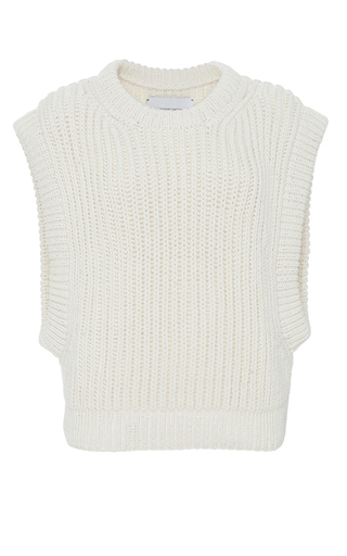 Medium i love mr mittens white sleeveless knit top  2