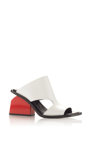Medium marni white natural white calf leather mule with red heel