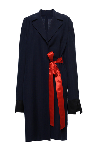 Medium marni black eclipse pin stripe duster coat