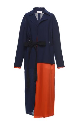 Medium marni blue asymmetric cropped duster coat