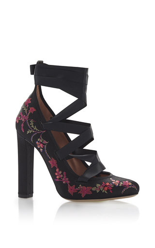 Medium etro black black floral embroidered high heel with satin ribbon ankle lacing