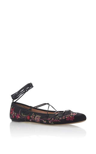 Medium etro black black floral embroidered satin ballet flat with leather ankle lacing