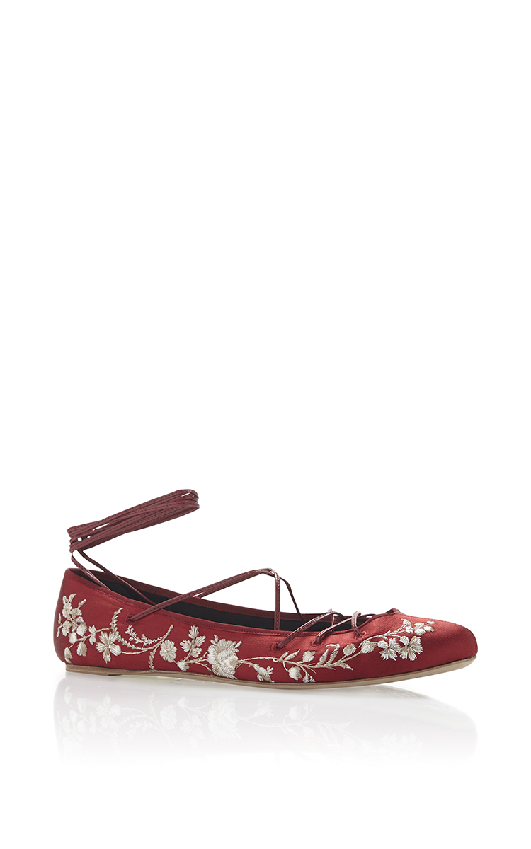 Elie Saab Embroidered Wrap-Around Flats buy cheap best sale Si08g