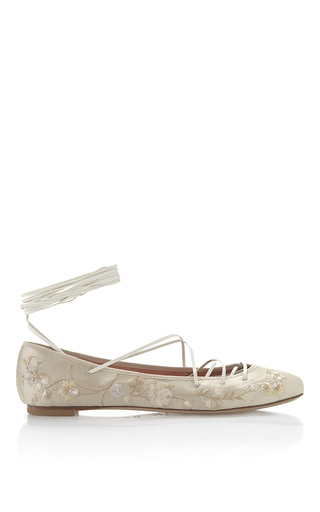 Medium etro ivory ivory floral embroidered satin ballet flat with leather ankle lacing
