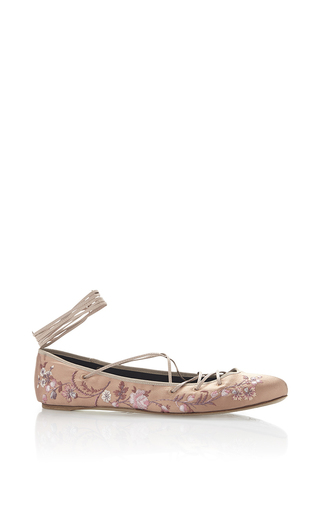 Medium etro pink rose floral embroidered satin ballet flat with leather ankle lacing