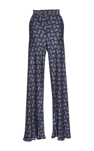 Medium etro navy navy paisley sateen palazzo pants