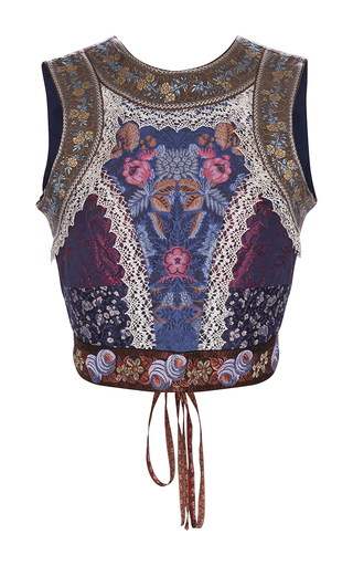 Medium etro navy midnight patchwork jacquard laced back bodice