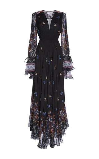 Medium etro black black floral embroidered silk gown