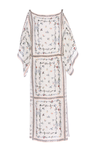 Medium vilshenko print dasha silk jacquard dress with open shoulders