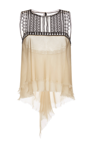Medium alberta ferretti tan embroidered chiffon ruffle blouse