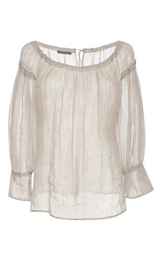 Medium alberta ferretti tan beige bateau neck linen blouse