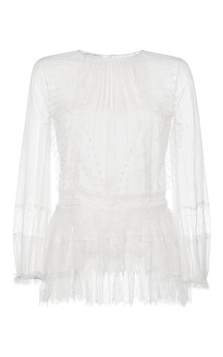 Medium alberta ferretti white long sleeve chiffon creponne blouse