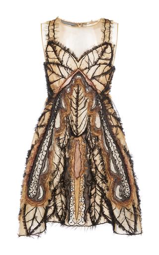 Medium alberta ferretti brown sweetheart illusion butterfly dress