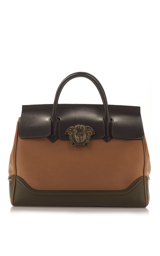 Medium versace brown colorblocked leather handbag