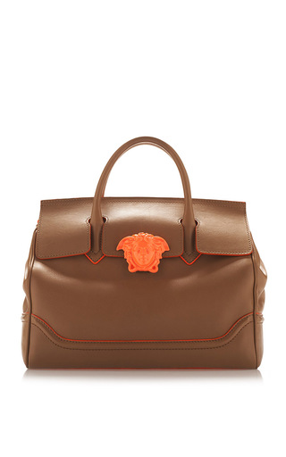 Medium versace brown brown and orange leather handbag