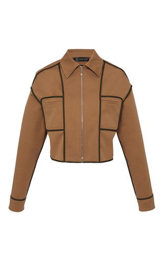 Medium versace brown stretch cotton cropped jacket