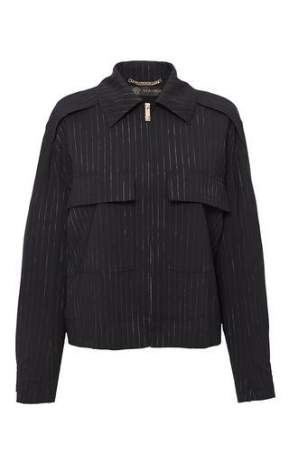 Medium versace black pinstripe stretch wool jacket