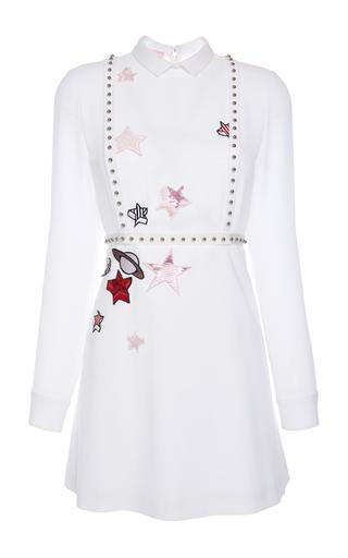 Medium giamba white long sleeve mini dress with sequin stars embellishment