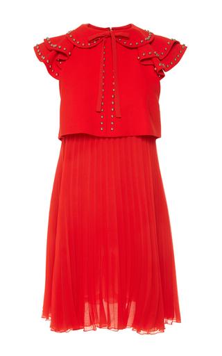 Medium giamba red sleeveless mini dress with plisse skirt