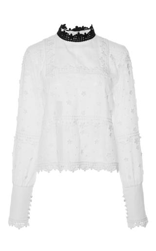 Medium giamba white cotton floral applique long sleeved top