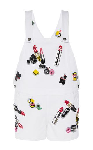 Medium giamba white embellished overall short