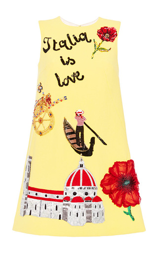 Medium dolce gabbana yellow italia is love embellished shift dress