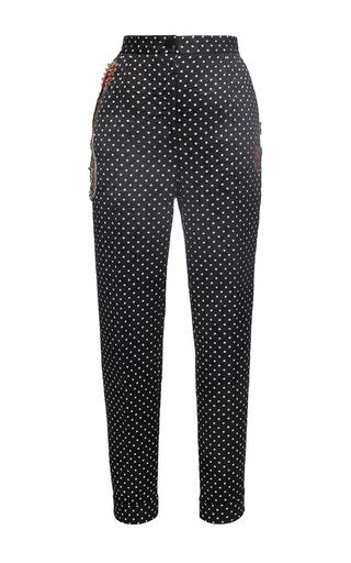 Medium dolce gabbana black polka dot brocade cropped pant