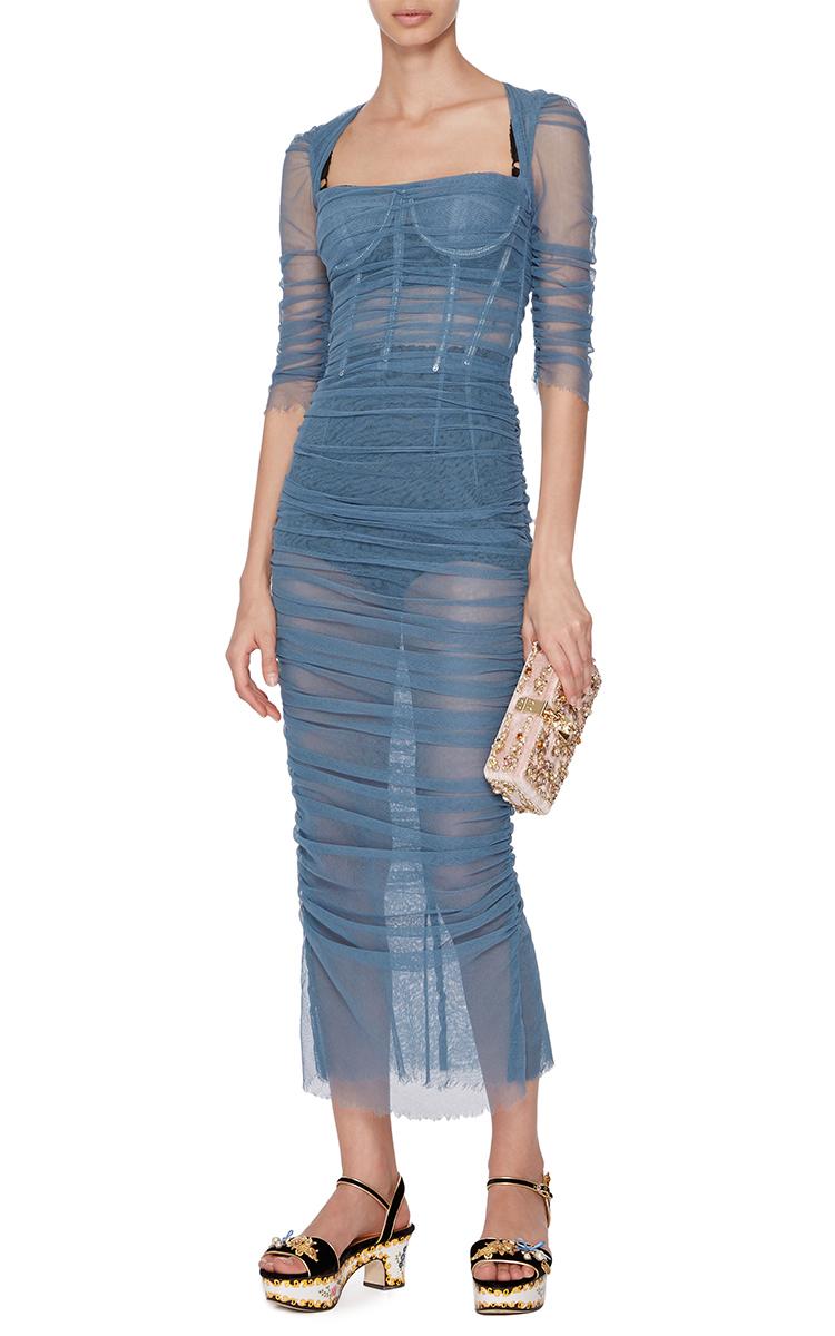 Light Blue Ruched Dress