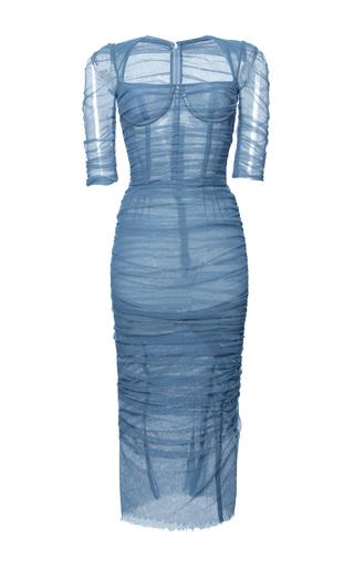 Medium dolce gabbana light blue stretch cotton tulle ruched dress  2