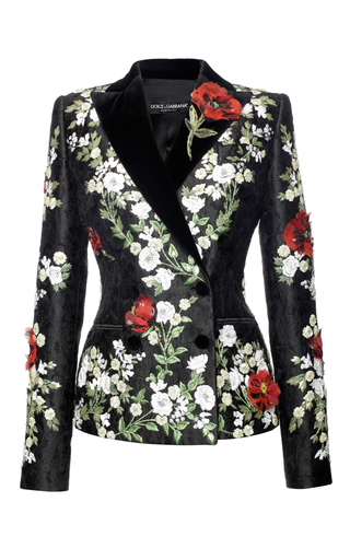 Medium dolce gabbana black embroidered brocade double breasted jacket