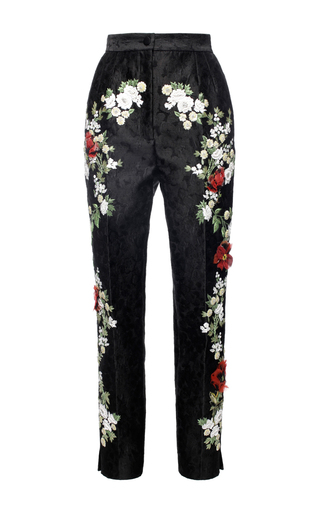Medium dolce gabbana black embroidered brocade cropped pant