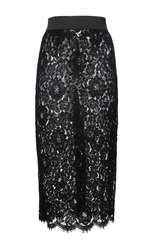Medium dolce gabbana black black cordonetto lace pencil skirt