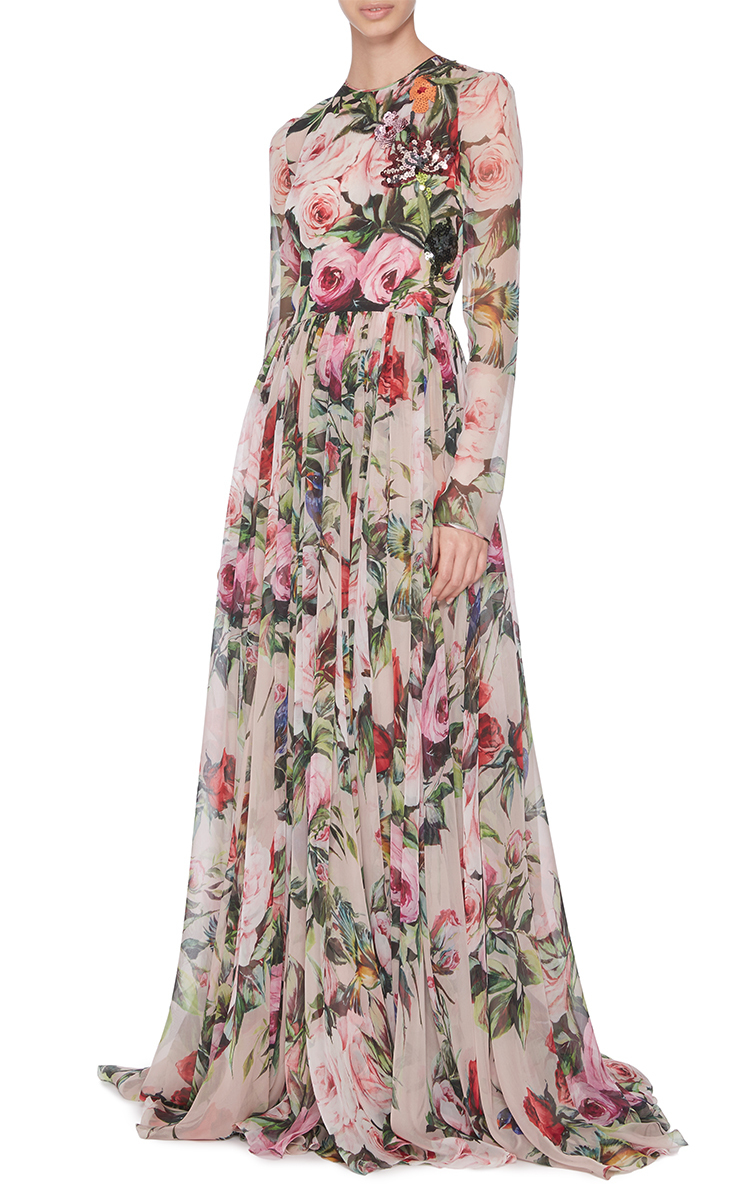 Many Kinds Of Cheap Price Quality Free Shipping For Sale Embellished Floral-print Silk-chiffon Gown - White Dolce & Gabbana Discount Codes Shopping Online vA5Mw1lqp