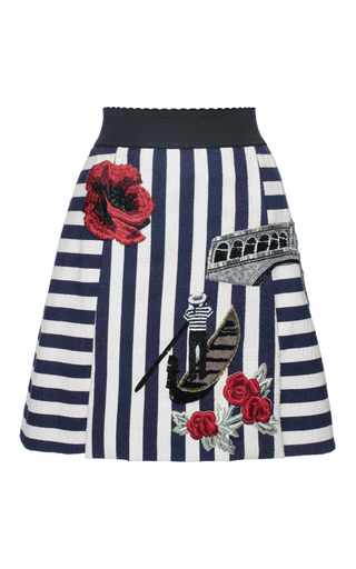 Medium dolce gabbana stripe striped stretch cotton venice skirt