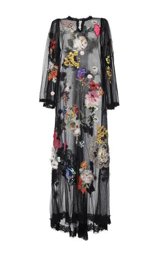 Medium dolce gabbana black flower embellished net caftan