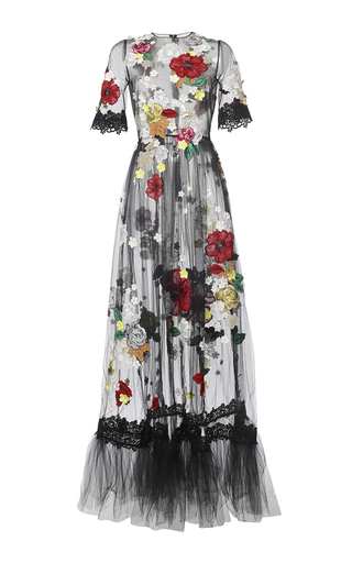 Medium dolce gabbana black embellished floral tulle gown