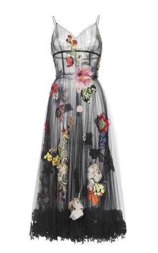 Medium dolce gabbana black embellished floral tulle full skirt dress