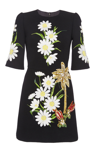 Medium dolce gabbana black daisy embroidered wool crepe dress