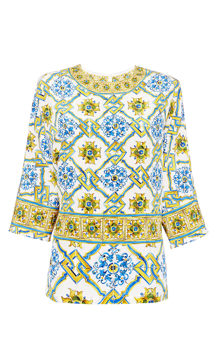 Clearance Find Great Sale Low Price Fee Shipping Dolce & Gabbana tile print blouse Clearance Finishline JuOgsw