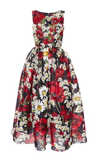 Medium dolce gabbana print poppy print sleeveless organza dress