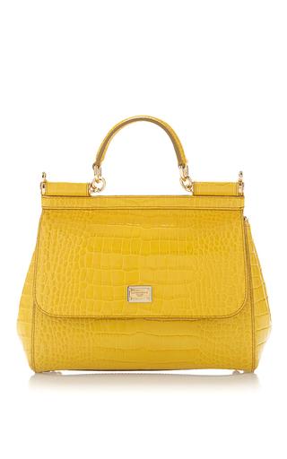 Medium dolce gabbana yellow silcily in crocodile top handle bag