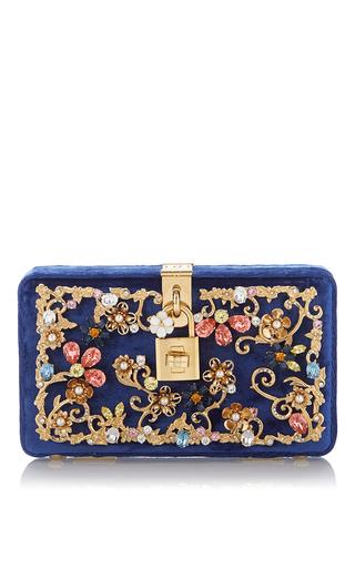 Medium dolce gabbana blue dolce box bag in velvet