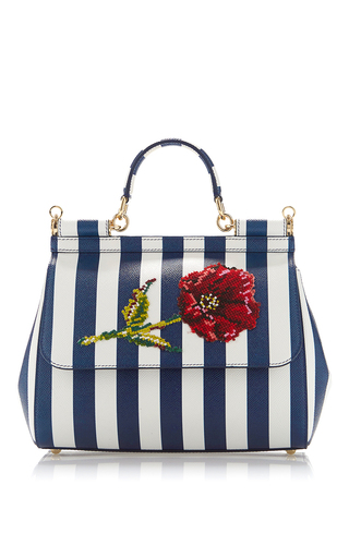Medium dolce gabbana blue sicily stripe top handle bag with needlepoint flower