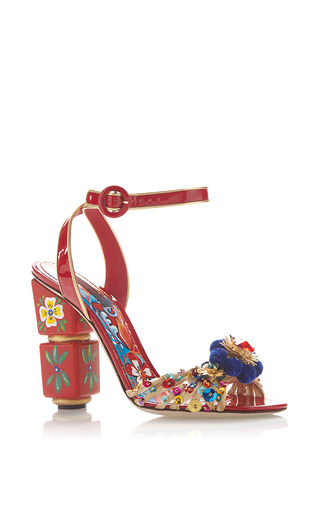 Medium dolce gabbana red red painted sandals with pom pom and sequined toe
