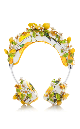 Medium dolce gabbana yellow lemon floral headphones