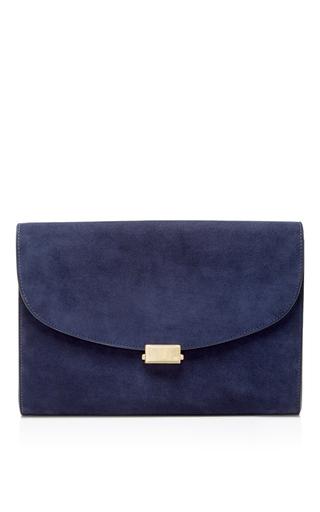 Medium mansur gavriel blue blu suede envelope flat clutch
