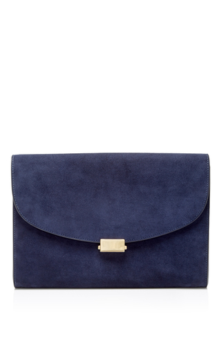 Medium mansur gavriel blue blu suede envelope flat clutch